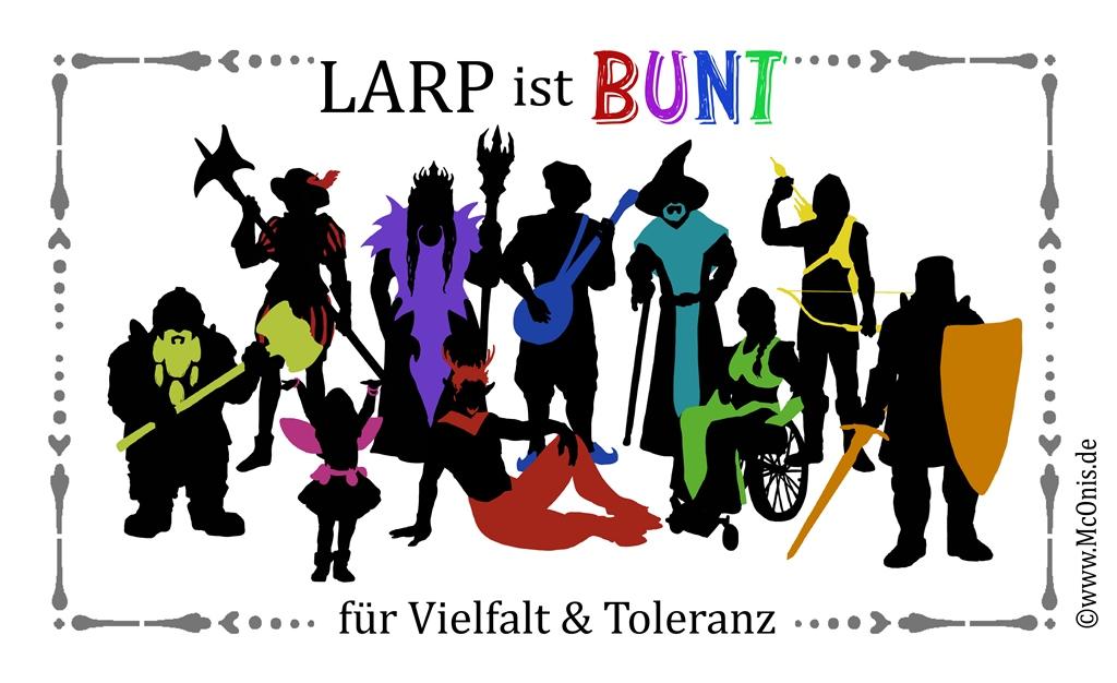 Logo der Aktion LARP ist BUNT - für Vielfalt & Toleranz - von McOnis